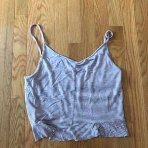 Lavender and white striped tank